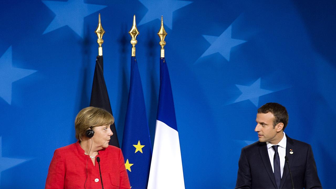 Tysklands förbundskansler Angela Merkel och Frankrikes president Emmanuel Macron. Arkivbild.