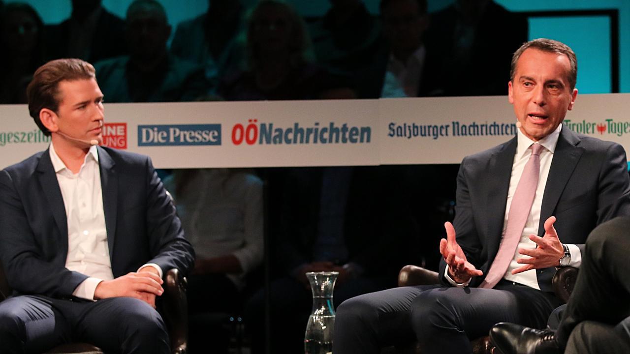 Kristdemokratiske ÖVP-ledaren Sebastian Kurz och socialdemokratiske SPÖ-ledaren Christian Kern. Arkivbild.