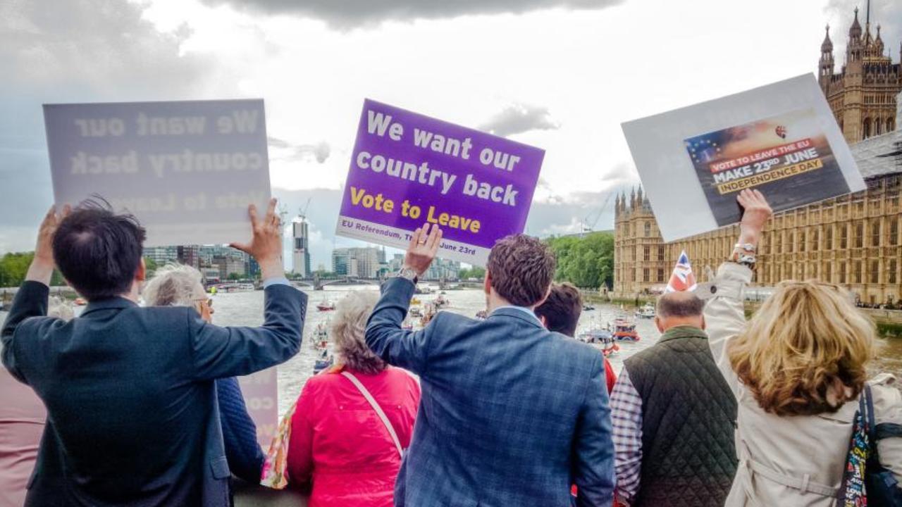 Delar av brexitkampanjen inför folkomröstningen 2016.