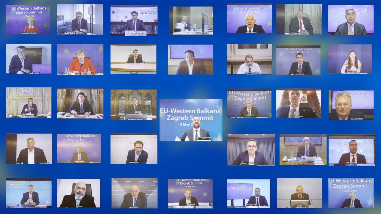 Onsdagens EU-toppmöte med länderna på västra Balkan skulle ha hållits i kroatiska Zagreb men ägde på grund av coronakrisen rum virtuellt.
