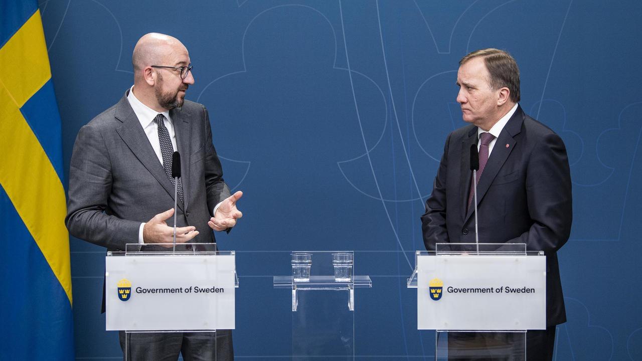Europeiska rådets ordförande Charles Michel och statsminister Stefan Löfven.