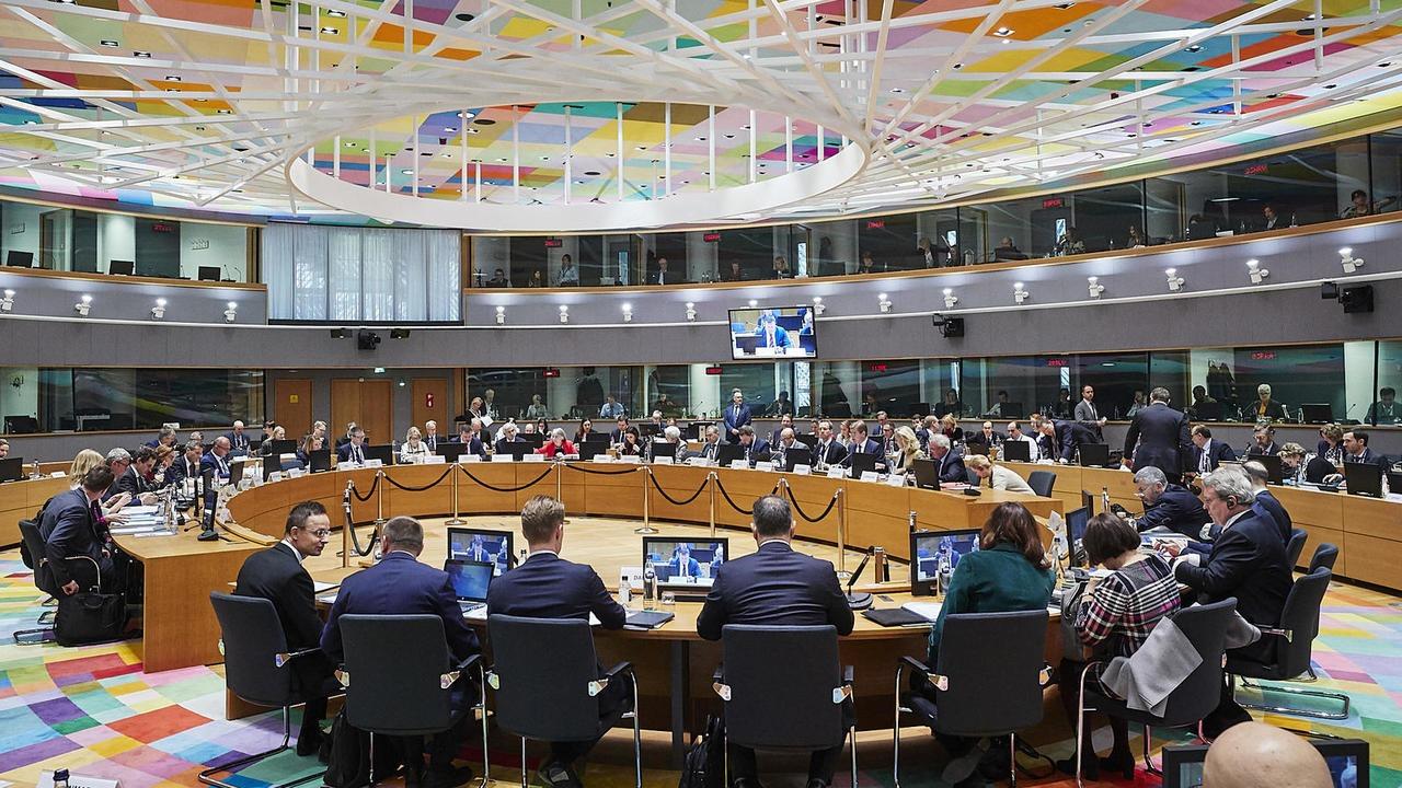 EU-ländernas handelsministrar vid torsdagens möte i Bryssel.