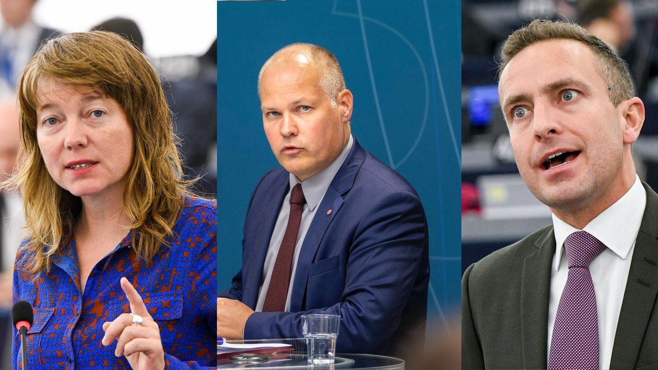 EU-parlamentariker Malin Björk (V), migrationsminister Morgan Johansson (S) och EU-parlamentariker Tomas Tobé (M).