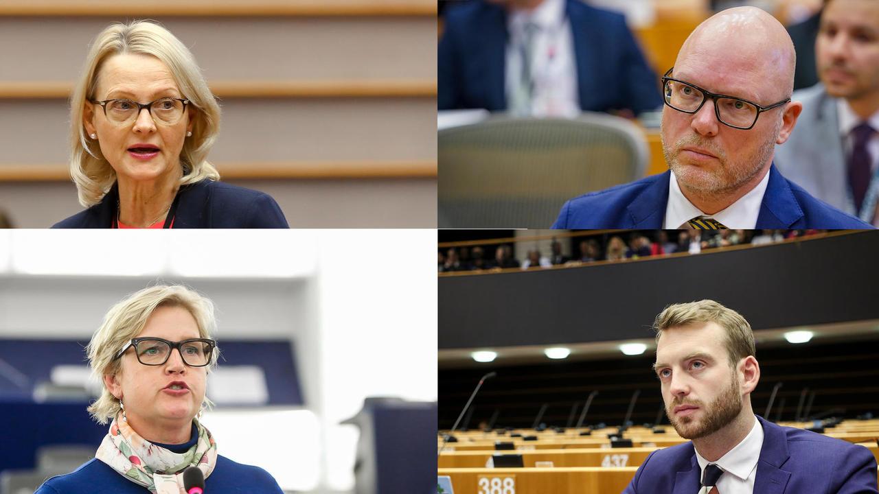 EU-parlamentariker Heléne Fritzon (S), Jörgen Warborn (M), Karin Karlsbro (L) och Jakop Dalunde (MP). Arkibild.