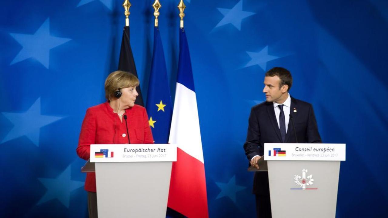Frankrikes Emmanuel Macron har drivit på för att fördjupa eurosamarbetet men han behöver stöd från Tysklands Angela Merkel.