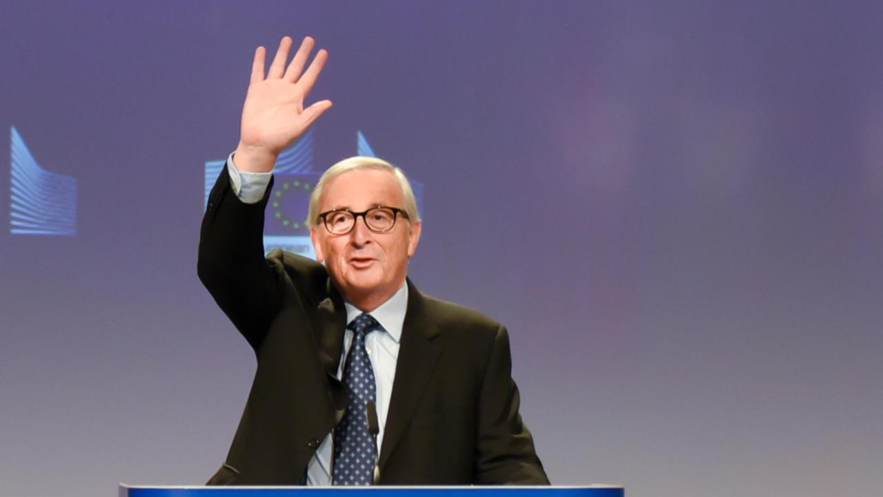EU-kommissionens avgående ordförande Jean-Claude Juncker på fredagens presskonferens.
