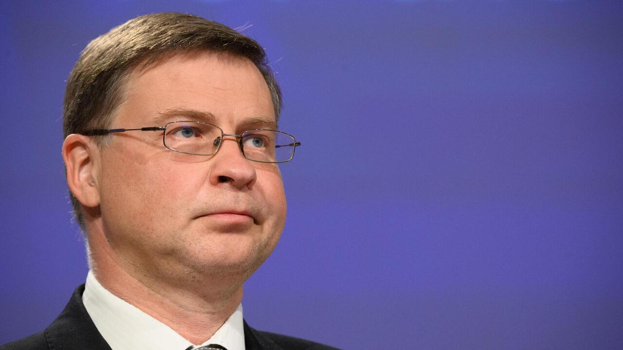 EU:s eurokommissionär Valdis Dombrovskis, en konservativ lett. Arkivbild.
