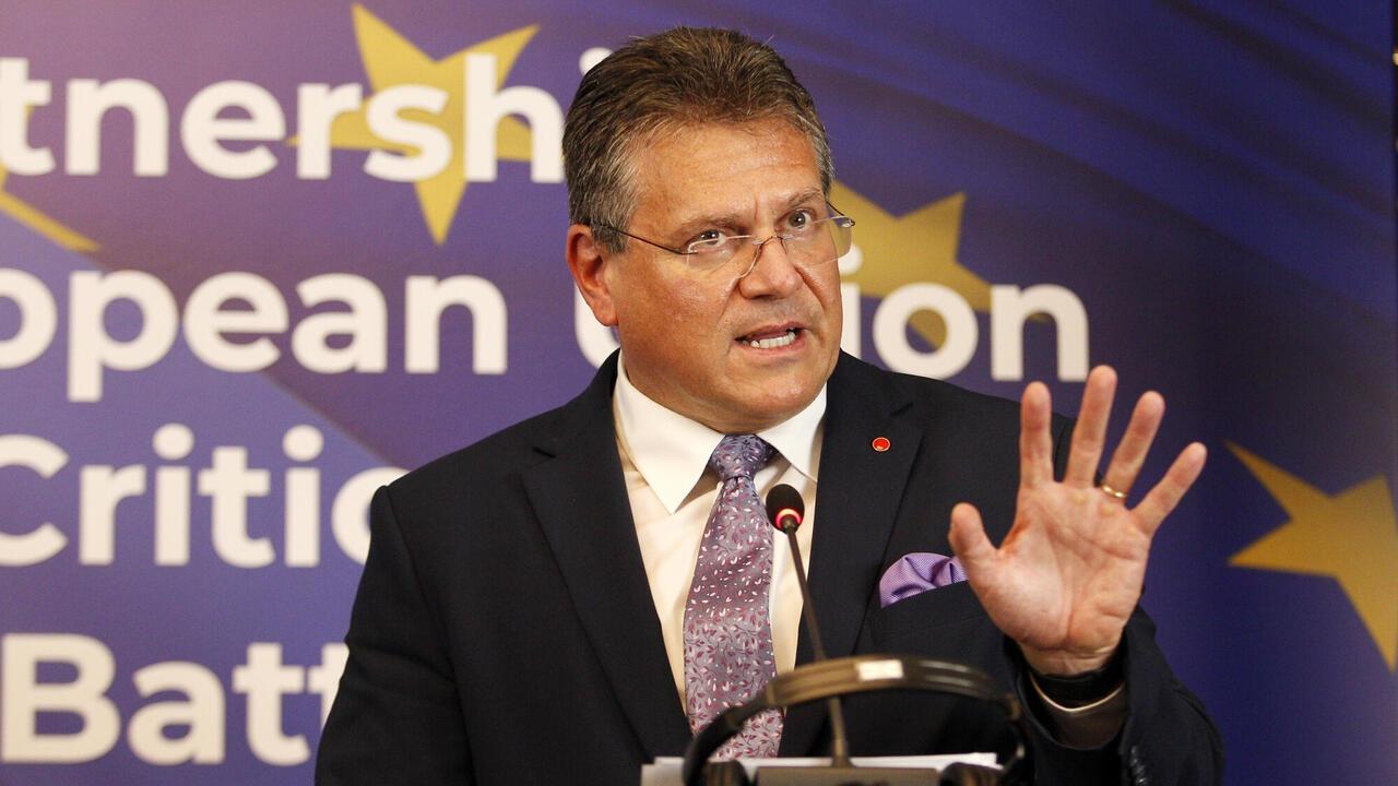 EU-kommissionär Maroš Šefčovič ansvarar för att se till att avtalen mellan EU och Storbritannien efterlevs. Arkivbild.
