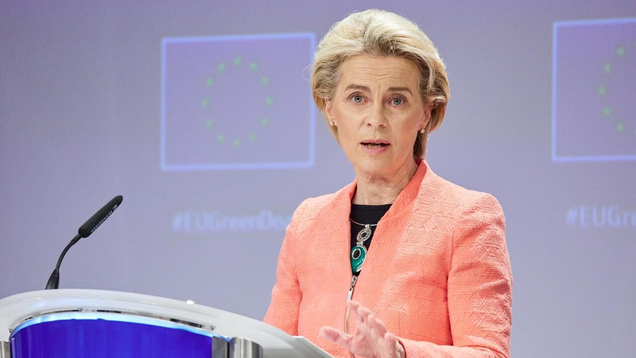 EU-kommissionens ordförande Ursula von der Leyen under onsdagens presentation.
