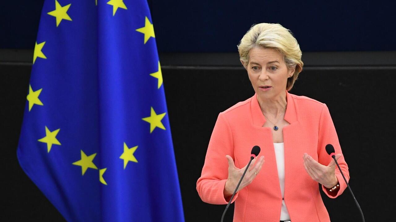 EU-kommissionens ordförande Ursula von der Leyen under onsdagens linjetal om läget i unionen.