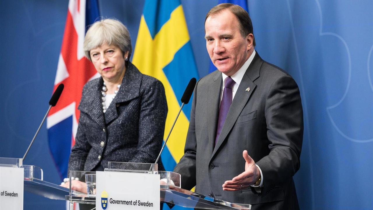 Storbritanniens premiärminister Theresa May och Statsminister Stefan Löfven. Bilden är en arkivbild.