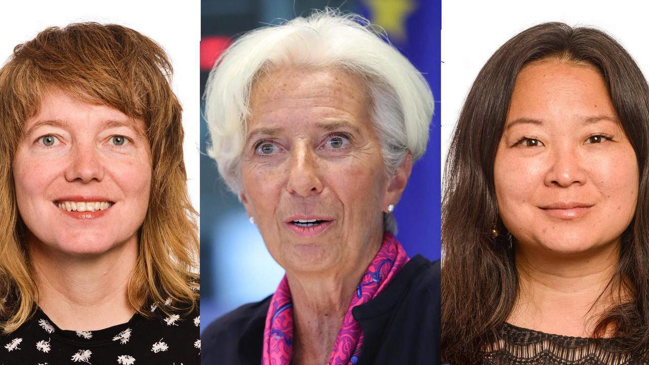 Malin Björk (V), Christine Lagarde och Jessica Polfjärd (M).