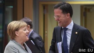 Stödet för den tyska förbundskanslern Angela Merkels och nederländske premiärministern Mark Ruttes partier har ökat tydligt under coronakrisen. Arkivbild.