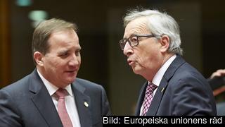 Statsminister Stefan Löfven i samspråk med EU-kommissionens ordförande Jean-Claude Juncker.