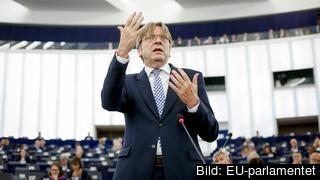 EU-parlamentets brexitföreträdare Guy Verhofstadt under tisdagens debatt.