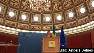 Statsminister Stefan Löfven (S) höll ett linjetal på Uppsala universitet på torsdagen.