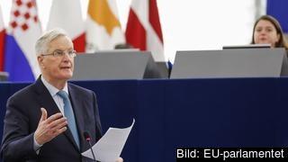 EU:s chefsförhandlare Michel Barnier debatterade resultatet i den brittiska omröstningen om utträdesavtalet i EU-parlamentet på onsdagen.