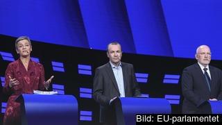 Blir nån av dessa tre toppkandidater nästa ordförande i EU-kommissionen? Danska liberalen Margrethe Vestager, tyske kristdemokraten Manfred Weber och nederländske socialdemokraten Frans Timmermans. Arkivbild.