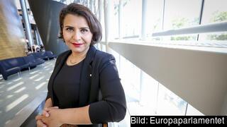 Europaparlamentariker Abir Al-Sahalni (C).