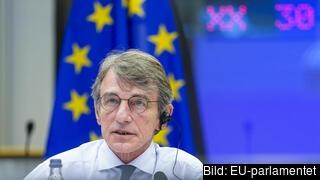 EU-parlamentets talman David Sassoli under onsdagens talmanskonferens. Arkivbild.