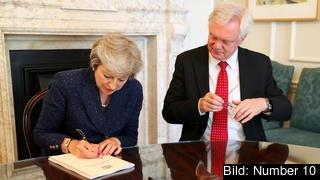 Premiärminister Theresa May och hennes förre brexitminister David Davis. Arkivbild.
