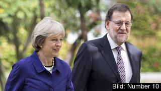 Storbritanniens premiärminister Theresa May träffar sin spanske motsvarighet Mariano Rajoy. Arkivbild.