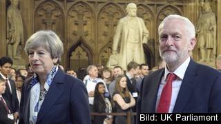 Premiärminister Theresa May och oppositionsledaren Jeremy Corbyn. Arkivbild.