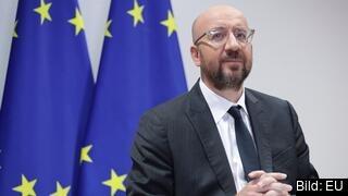 Europeiska rådets ordförande Charles Michel på midsommaraftonens videotoppmöte.
