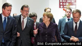 Storbritanniens David Cameron, Spaniens Mariano Rajoy, Tysklands Angela Merkel och Europeiska rådets Donald Tusk. Arkivbild.