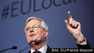 EU:s brexitchefsförhandlare Michel Barnier under torsdagens tal i rumänska Bukarest.