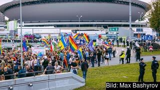 En hbtq-demonstration i polska Katowice. Arkivbild.