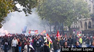 Den 12 september har den stora franska fackliga organisationen CGT utlyst en generalstrejk och manifestationer mot president Emmanuel Macrons reformförslag. Arkivbild.