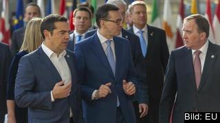 Statsminister Stefan Löfven vid ett tidigare toppmöte ihop med Greklands premiärminister Alexis Tsipras och Polens premiärminister Mateusz Morawiecki.