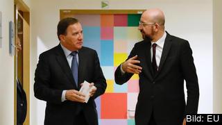 Statsminister Stefan Löfven i samtal med Europeiska rådets ordförande Charles Michel om EU:s nästa flerårsbudget. Arkivbild.