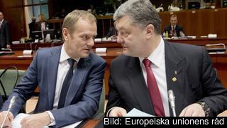 Europeiska rådets ordförande Donald Tusk och Ukrainas president Petro Porosjenko.