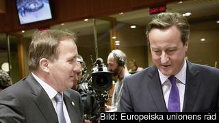 Statsminister Stefan Löfven (S) och Storbritanniens avgående premiärminister David Cameron. Arkivbild.