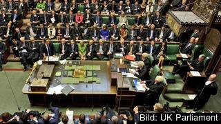 Storbritanniens avgående premiärminister David Cameron i det brittiska underhuset. Arkivbild.