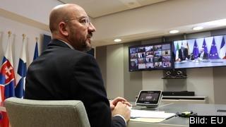 Europeiska rådets ordförande Charles Michel under tisdagens EU-videokonferenstoppmöte.