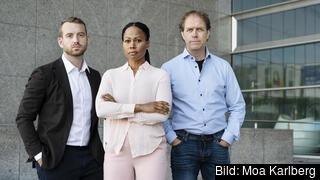 Miljöpartiets EU-parlamentariker Jakop Dalunde, Alice Bah Kuhnke och Pär Holmgren