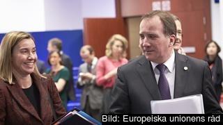 EU:s utrikeschef Federica Mogherini och statsminister Stefan Löfven under EU-toppmötet.