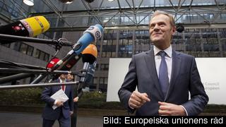 Europeiska rådets ordförande Donald Tusk gör entré på torsdagen.