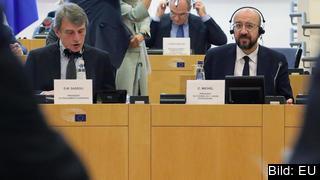 EU-parlamentets talman David Sassoli och Europeiska rådets ordförande Charles Michel. Arkivbild.