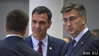 Två av de sex premiärministrarna som träffas i kväll i Bryssel, Spaniens Pedro Sánchez och Kroatiens Andrej Plenkovič. Arkivbild