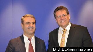 Ibrahim Baylan (S), energiminister och Maroš Šefčovič, vice-ordförande i EU-kommissionen.