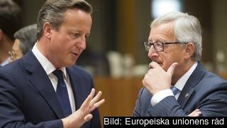 Den brittiske premiärministern David Cameron och tillträdande kommissionsordförande Jean-Claude Juncker.
