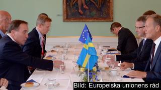 Statsminister Stefan Löfven och Europeiska rådets ordförande Donald Tusk träffas inför fredagens EU-toppmöte.