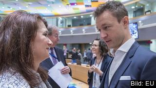 EU-ministrar Ann Linde (Sverige) och Gernot Blümel (Österrike) vid ett tidigare möte. Arkivbild.