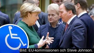 Från höger: Angela Merkel, Tysklands förbundskansler, med Dalia Grybauskaite, Litauens före detta president, och Stefan Löfven, Sveriges statsminister.