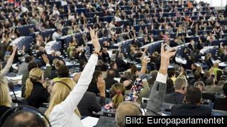 Bilden visar hur det kunde se ut vid omröstningarna i Europaparlamentet innan coronapandeminen bröt ut. Arkivbild.