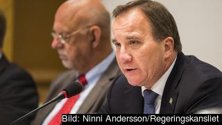 Statsminister Stefan Löfven i riksdagens EU-nämnd. Arkivbild.